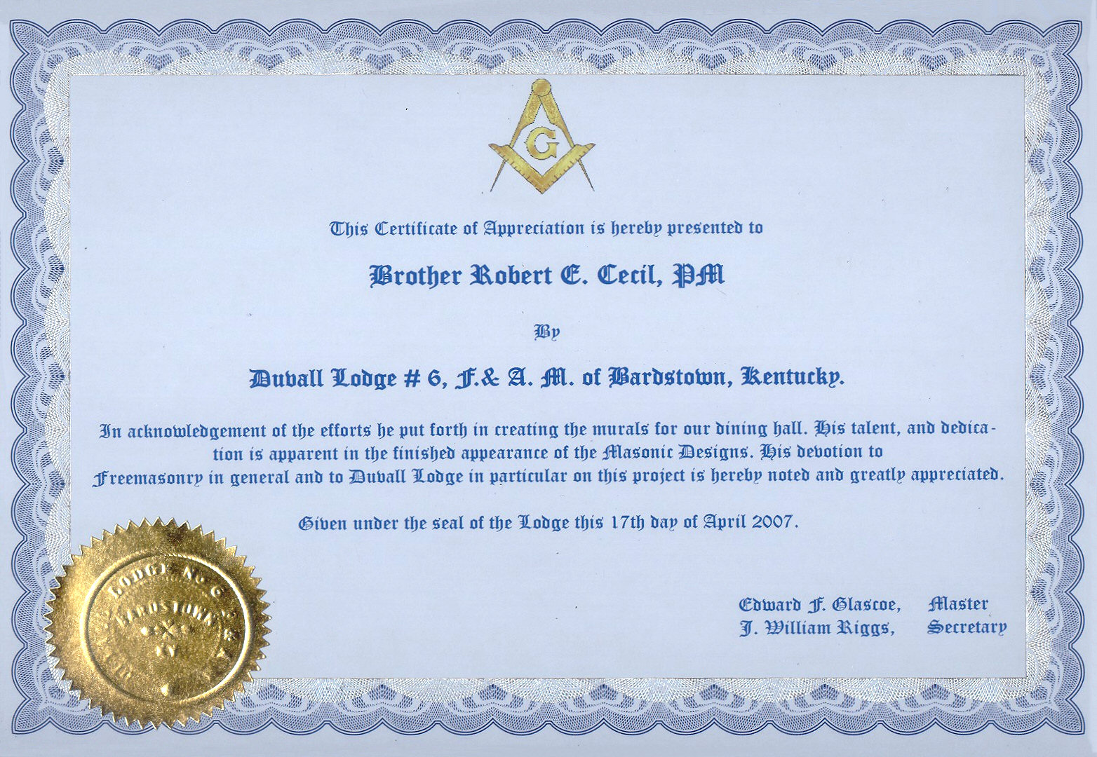 Recognition certificates for Masonic certificate template